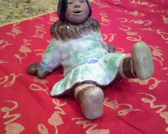 "Retired c.Alan Johnson ceramic Eskimo figurine ""Naomi"""