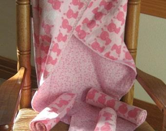 Blanket, pink, premie or newborn, bunny receiving blanket set, with burp cloths, baby gift