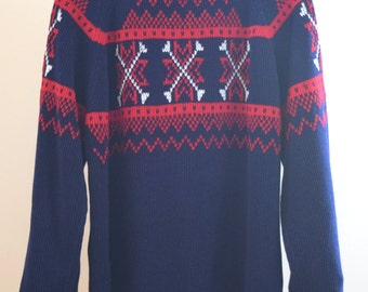 1960's Men's Medium Sweater J.C. Penney Acrylic Dark blue with red and white detail