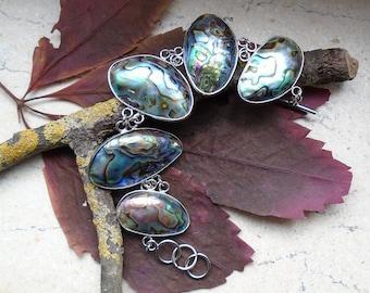 Abalone-shell, bracelet, bracelets, silver plated