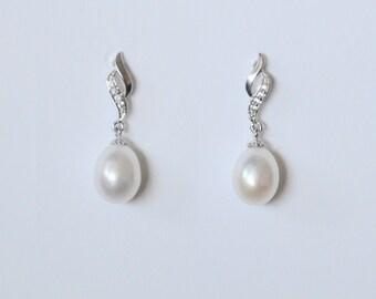Freshwater Pearl Wedding Earrings, Natural Pearl Earrings, Wedding Pearl Earrings, Silver Pearl Earrings, Cultured Pearl Earrings