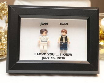 Lego I Love You I Know Framed Han & Leia Star Wars Mini Figures Anniversary Gift Minifigures Wedding Anniversary Personalized UK USA Canada