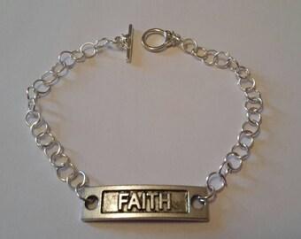 Silver faith charm bracelet