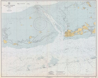 1940 Nautical Map of Key West Harbor Florida