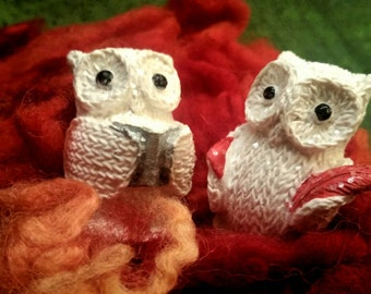 STUDIES OWLS in resin and glitter effect tricot