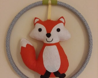 Woodland Fox wall hanging / wall art (large), nursery or child's bedroom. Made to order