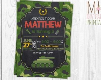 army birthday invitation, army invitation, army party invitation, army birthday, military invitation, paintball, boot camp