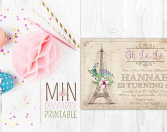 Vintage Paris Invitation,Paris Girl Invitation,Paris Invitation 2,Eiffel Tower Birthday Invite,Paris Birthday Invitation,French Party