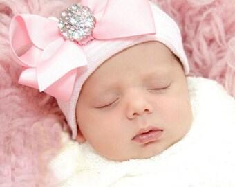 Baby girl hospital hat rhinestone bowtie