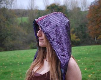 Purple sequin fleece lined hood