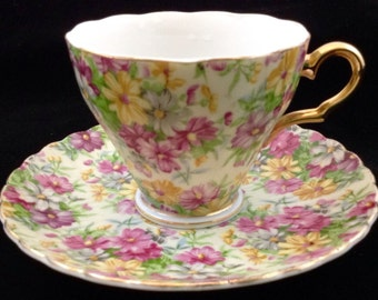 Floral Cup & Saucer ~Inarco E-1745 Japan~Scalloped Edge~Gold Trim