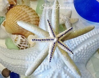 Shimmering golden starfish Beach Nautical Decor Wedding Sea Shells