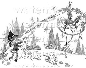 Printable art - very old vintage winter lithography - kid and crane