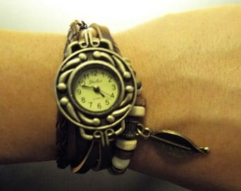 Brown Beaded Leather Charm Bracelet with Quartz Time Piece