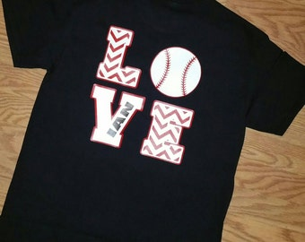 BASEBALL LOVE Shirt, BASEBALL Mom Shirt, Monogram Baseball Shirt, Cute Baseball Mom Shirt