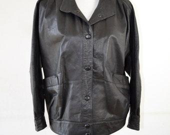 80s Leather Jacket  |  Retro Leather Jacket  |   Vintage Biker Coat  |  80s/90s Grunge Jacket