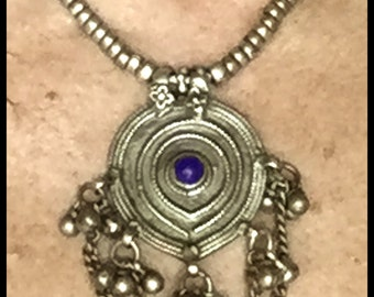 925 Silver,Lapis,48g, Antique, Rajasthan India, Hand-Initialed, lovely