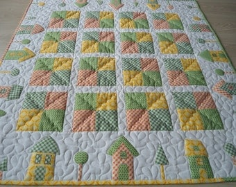 Items similar to Baby Quilt and Playmat in Vintage Modern ...
