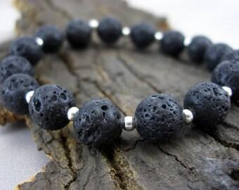 Bracelet black lava beads and silver balls beads