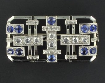 PIN art deco diamonds and sapphires Platinum old