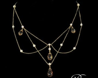 Citrine necklace beads yellow gold 18K modern