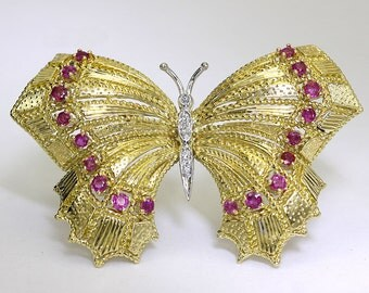 Vintage diamond ruby butterfly pin 18K two tone gold large detailed round .85CT