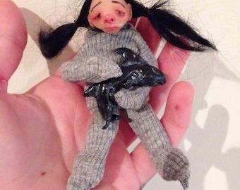 "Handmade mini art doll ""Tiny Shark"" polymer clay, miniature child"