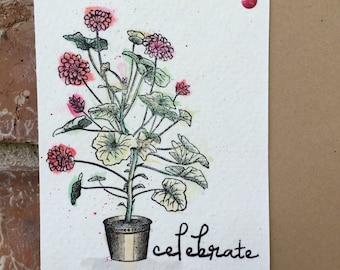 Vintage Potted Geranium Stamp, Acrylic Stamp, Geranium Stamp, Flower Stamp