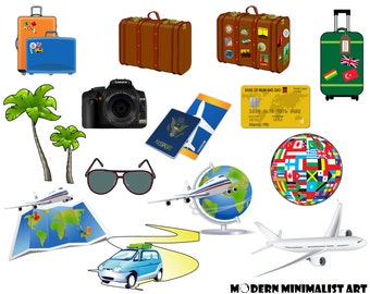 14 PNGS, Travel, Travel Clipart, Suitcase, Vacation Clipart, Travel Icons, Passport, Scrapbooking, Luggage Clipart, World Traveler, Plane