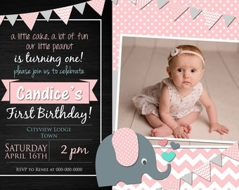 Elephant Pink or Blue Birthday Invitation