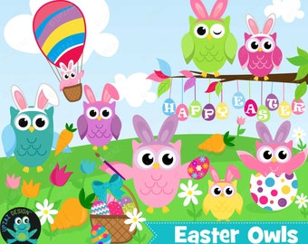 75% OFF SALE Easter Owl Clipart, Instant Download, Commercial Use - UZ879