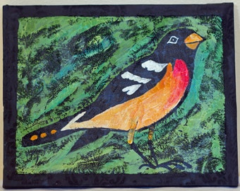 8 x 10 Robin Painted on Vintage Wall Paper