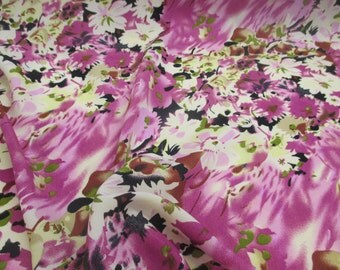 """Pink & Cream """"Blossoms"""" Floral Printed Summer Dress fabric. 58"""" Wide."""