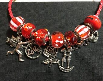 Sweet Valentine's Day boyfriend girlfriend charm bracelet - size 7