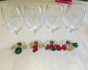 Christimas themed wine charms