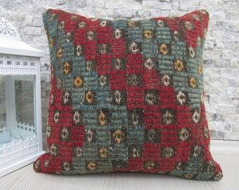Turkish Flat Woven on embroidery Motif 16 x 16  Anatolian Embroidery kilim pillowcase Home Decorative Kilim pillow