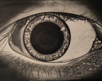 """Original charcoal drawing titled """"The pupil"""""""