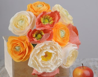 Bridal bouquet in warm colors, alternative wedding paper flower decor, wedding paper flowers bouquet