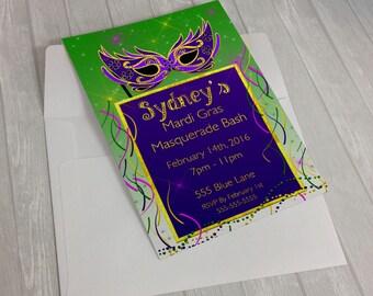 Birthday Invitations,Mardi Gras Invitation, Mardi Gras Birthday Invitation, Digital Print, Mardi Gras Birthday Party