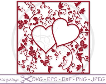 Heart Monogram SVG files Floral, SVG Valentines day, files monogram Heart for Cricut, Square Monogram, cut file, Instant Download