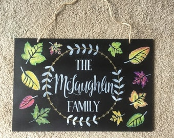 Autumn/Fall Family Chalkboard