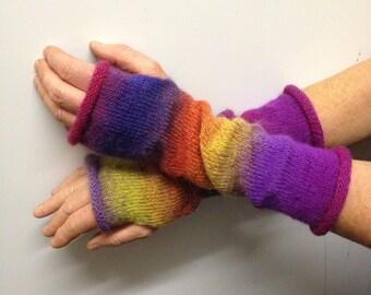 Long Knitted Fingerless Mittens Handmade Hand Arm Wrist Warmers