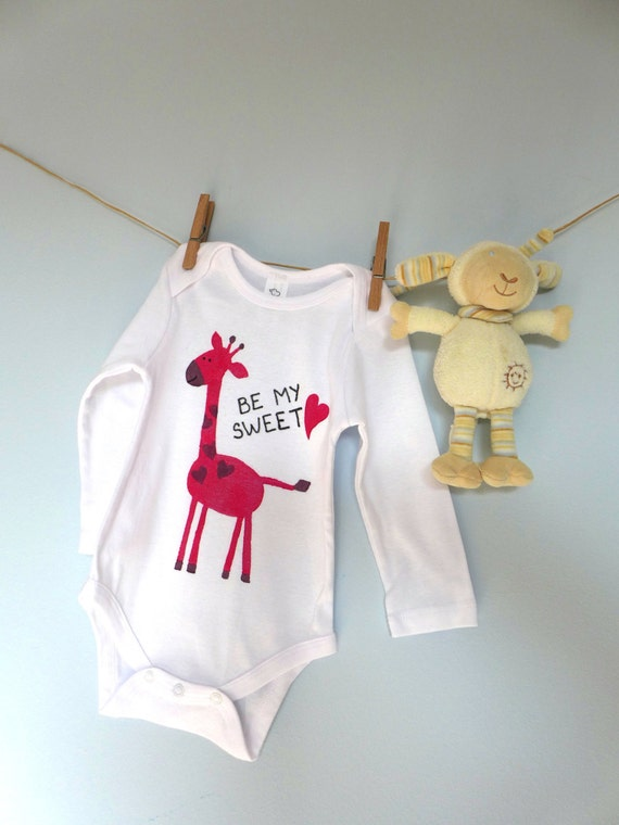 Be My Sweetheart Organic Cotton Baby Bodysuit I Love You Baby Gift Gender Girls