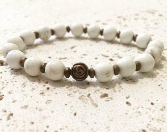 White turquoise bracelet,turquoise bracelet,white stone bracelet,raw turquise bracelet,yoga turquoise bracelet,boho turquoise bra