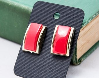 Retro Red and Gold Rectangle Earrings
