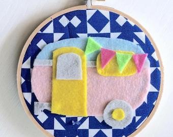 "Retro Camper 6"" Embroidery Hoop Art"