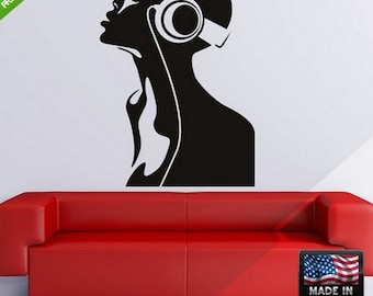 Afro girl Wall Decal afro girl headphones wall decal headphones girl Sticker Afro Girl Headphones sticker for wall (Z174)