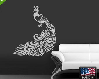 Peacock Wall Decalpeacock Wall Decals Graphics Peacock Feather Wall Decal  Peacock Wall Sticker Decals Peacock Wall