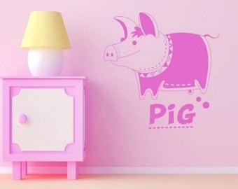 rvz668 Wall Vinyl Sticker Bedroom Decal Nursery Kids Baby Cartoon Pig