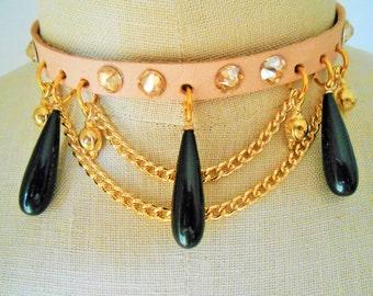Gold choker necklace, Gold choker, Gold collar, Choker necklace gold